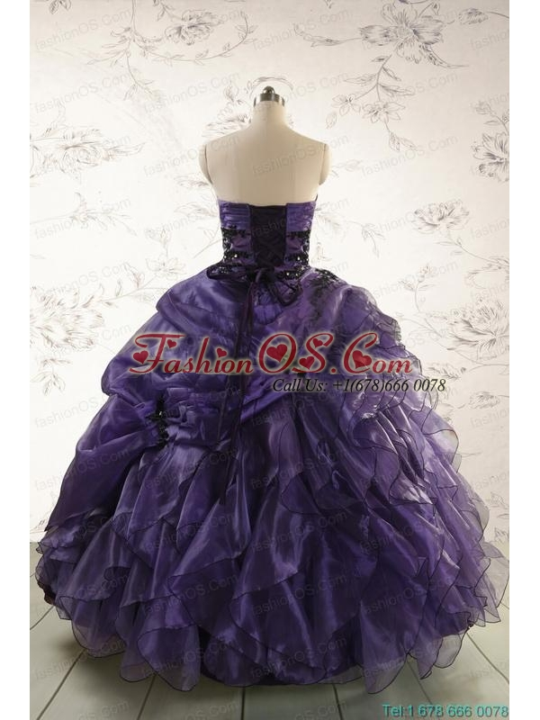 Elegant Sweetheart Appliques Purple Quinceanera Dress for 2015