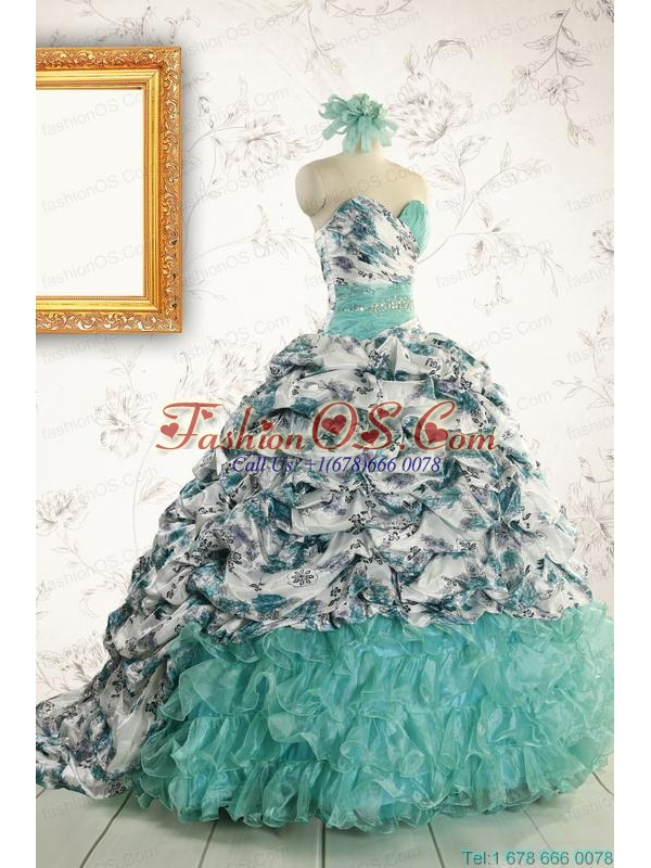 Exquisite Turquoise Sweep Train Quinceanera Dresses with Beading For 2015
