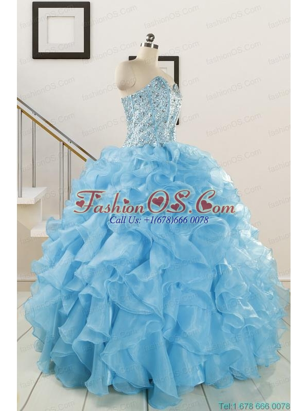 Luxurious Beading Apple Green Quinceanera Dresses for 2015