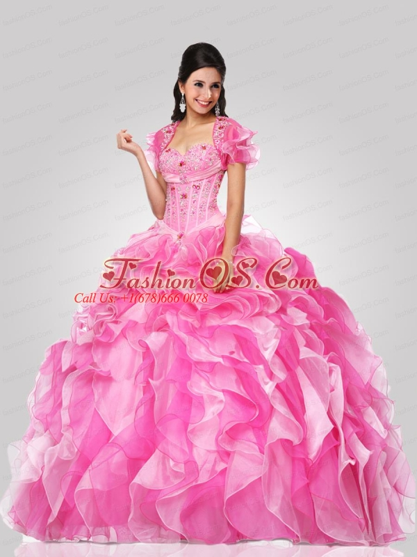 Pretty Sweetheart Pink Quinceanera Dress with Beading and Ruffles for 2015