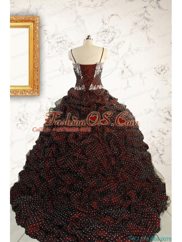 Wonderful Spaghetti Straps Appliques Sweet 15 Dresses in Burgundy