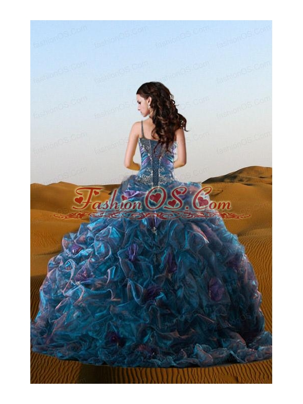 2015 Beautiful Straps Multi-color Beadings and Ruffles Gowns for Quinceanera