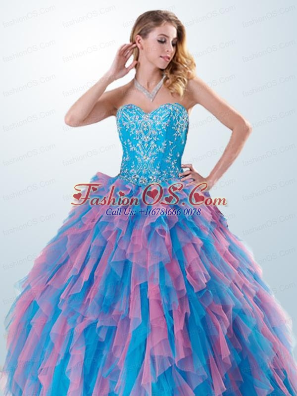 2015 Brand New Appliques and Ruffles Multi-color Quinceanera Dresses