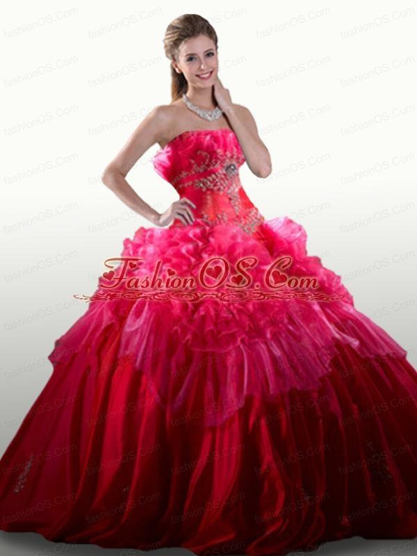 2015 Elegant Appliques and Ruffles Hot Pink Quinceanera Dresses