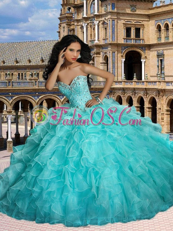 2015 Elegant Beaded and Ruffle Quinceanera Dresses in Apple Green
