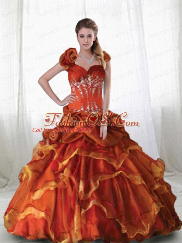 2015 Halter Top Rust Red Quinceanera Ball Gown  with Ruffles