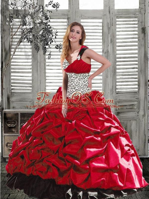 2015 Luxurious Leopard Multi-color Dresses For Quinceanera with Beading and Pick-ups