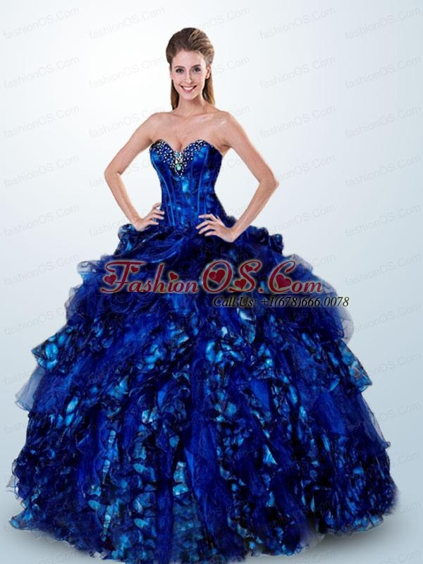 2015 Luxurious Sweetheart Royal Blue Quinceanera Dress with Beading