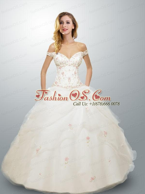 2015 New Arrival White Off The Shoulder Appliques Quinceanera Gown