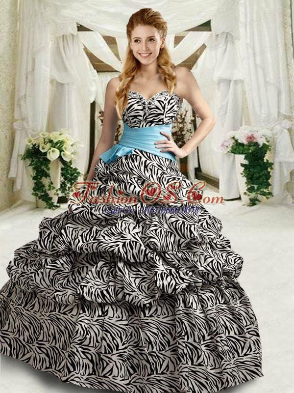 2015 New Style Strapless Multi-color Zebra Quinceanera Dress