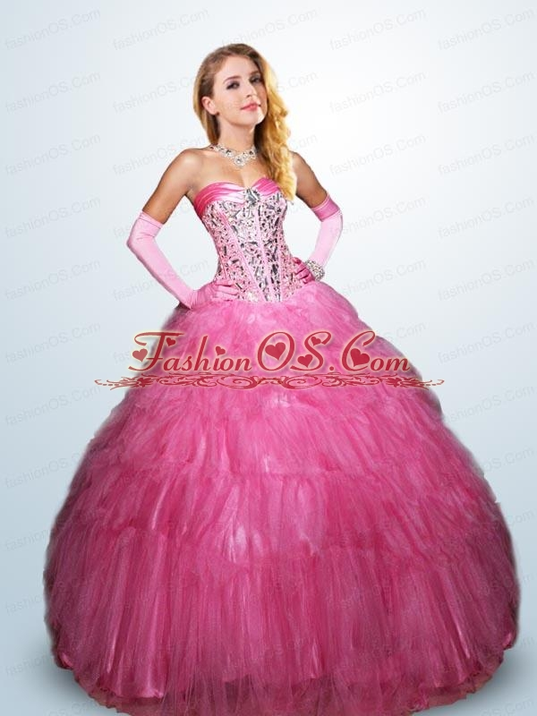 2015 Pretty Sweetheart Hot Pink Sweet 15 Dresses with Beading and Ruffles