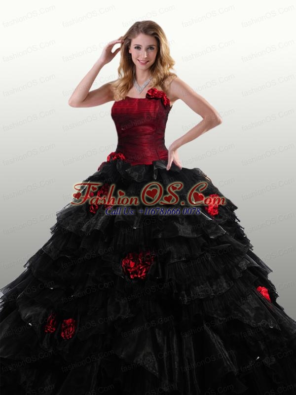 2015 The Super Hot Strapless Red and Black Quinceanera Dresses with Ruffles