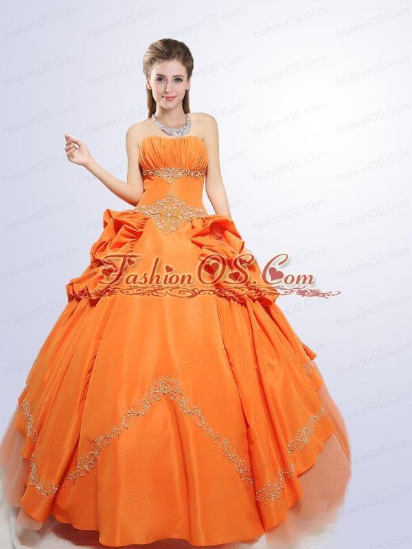 2015 Wonderful Orange Quinceanera Dress with Appliques
