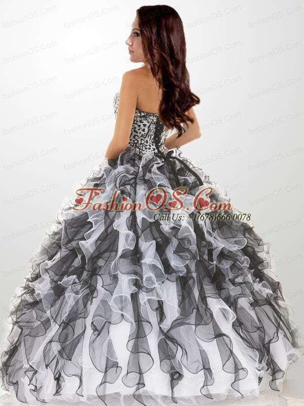 Affordable Black and White Beading Quinceanera Dresses For 2015