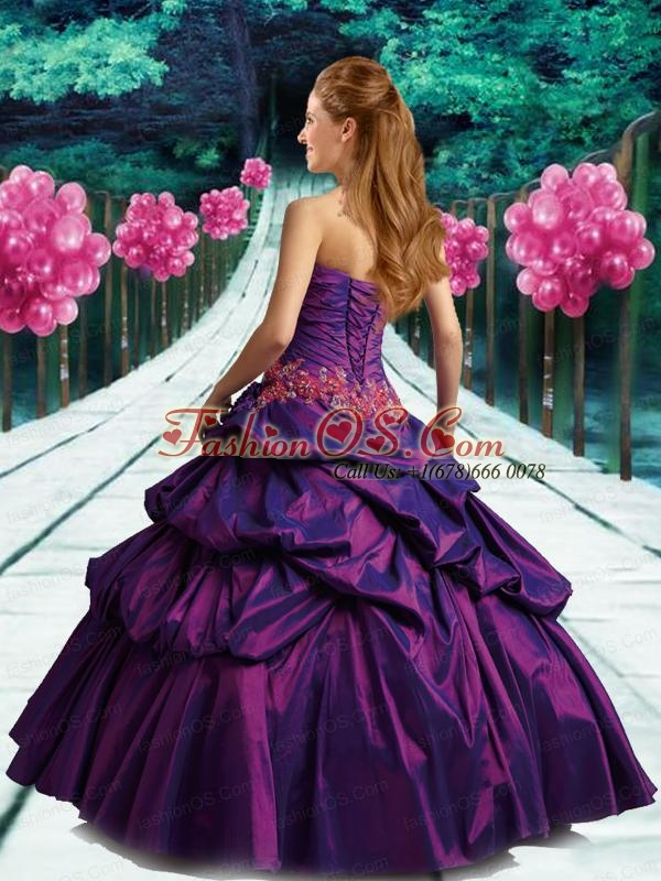 Brand New Strapless Applique Purple Quinceanera Dresses for 2015