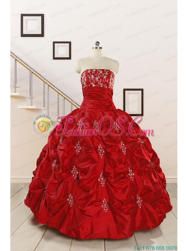 Cheap Appiques Beading Quinceanera Dresses in Red