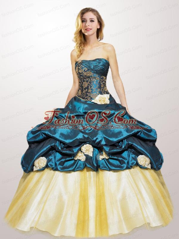 Cheap Strapless Teal Quinceanera Gown with  Appliques