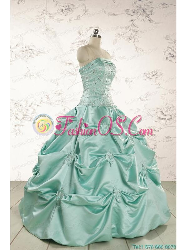Cheap Turquoise Quinceanera Dresses with Appliques