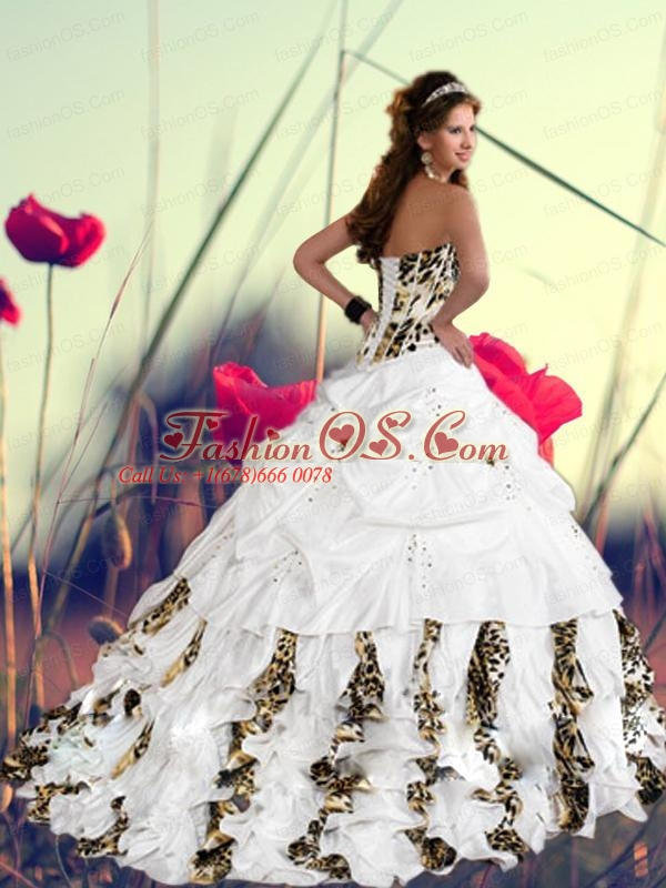 Cheap White Taffeta and Leopard Sweet 16 Dress with Ruffled Layers