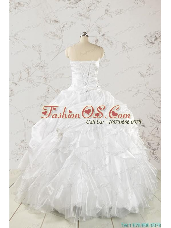 Classical White Quinceanera Dresses with Beading and Ruffles