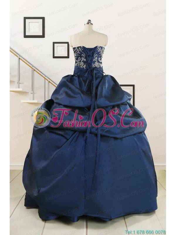 Custom Made Navy Blue Embroidery Quinceanera Dresses with Appliques