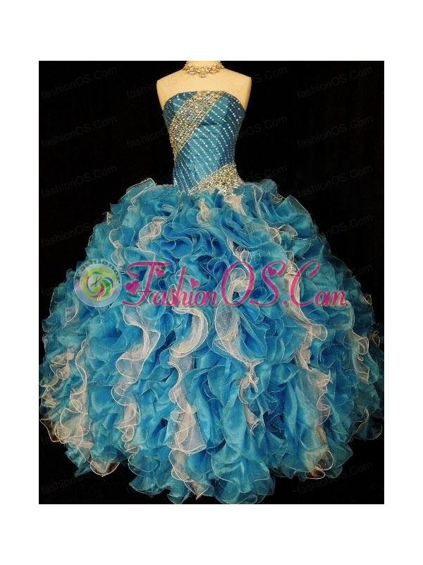 Discount Ruffles and Beading Quinceanera Dress in Multi-color