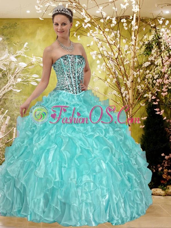 Discount Ruffles and Beading Sweet 15 Dress in Baby Blue