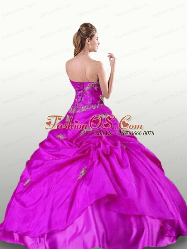 Elegant Fuchsia Quinceanera Dresses with Appliques For 2015