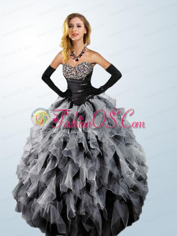 Elegant Multi-color Quinceanera Dresses with Ruffles and Beading For 2015
