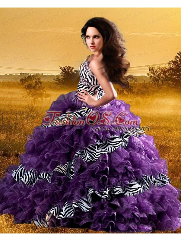 Elegant Sweetheart Organza and Zebra Ruffles Dresses for  Quinceanera