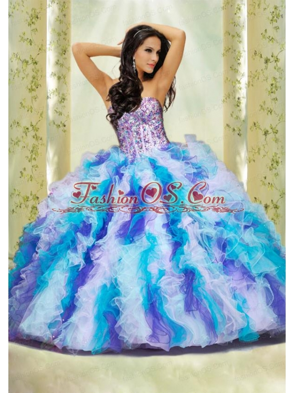 Luxurious Multi-color Sweetheart Appliques and Ruffles Dresses for Quinceanera