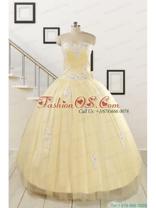 Luxurious Sweetheart Appliques Sweet 16 Dresses in Light Yellow