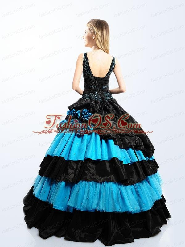 Modest V-neck Blue and Black Quinceanera Dress with Hand Made Flowers