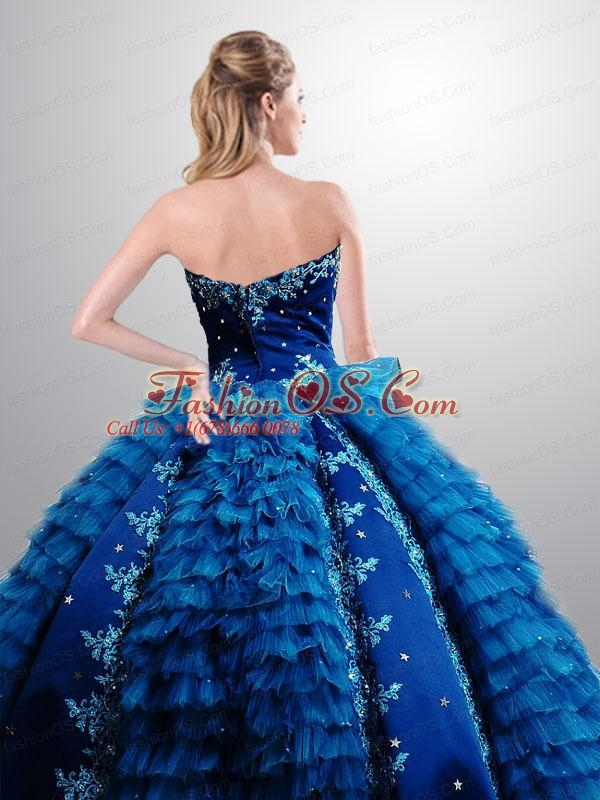 Most Popular Royal Blue 2015 Quinceanera Gown with Ruffles and Appliques