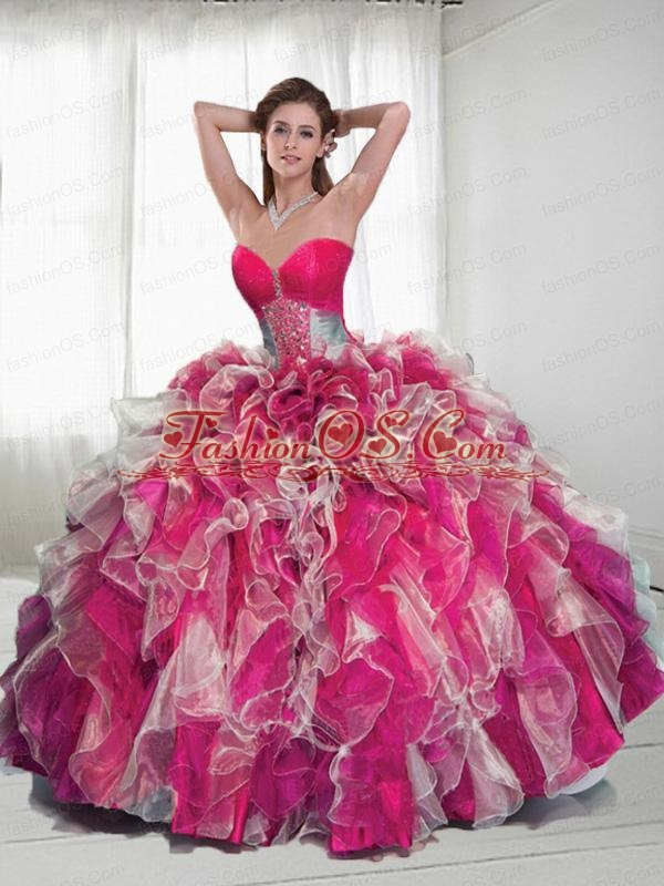 Multi-color Sweetheart Quinceanera Dresses with Ruffles and Beading