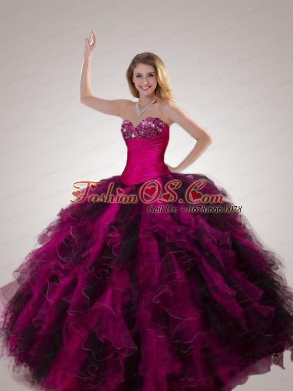 Organza Beading and Ruffles Quinceanera Gown with Sweetheart Neck