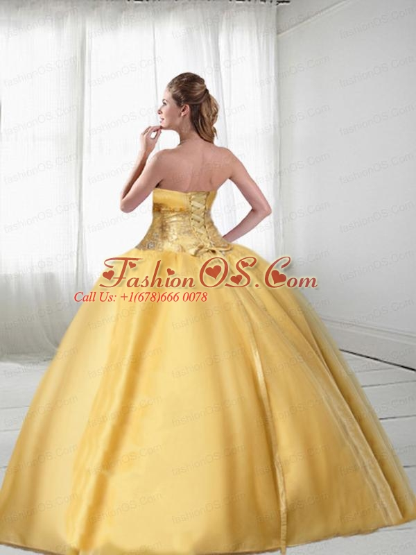 Perfect Gold Quinceanera Gown with Embroidery For 2015