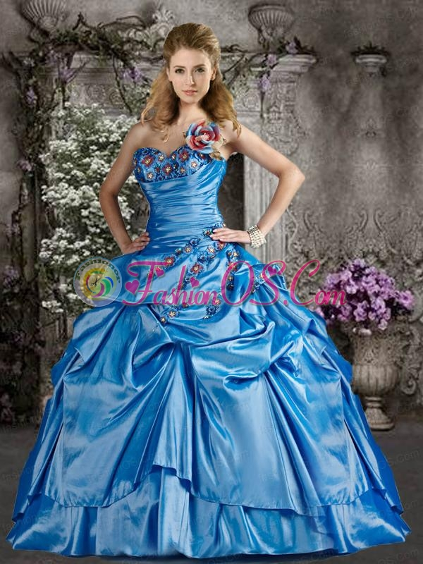 Popular Hand Made Flower Quinceanera Dresses in Blue
