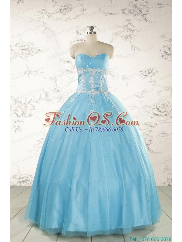 Pretty Beading and Appliques Quinceanera Dresses in Aqua Blue for 2015
