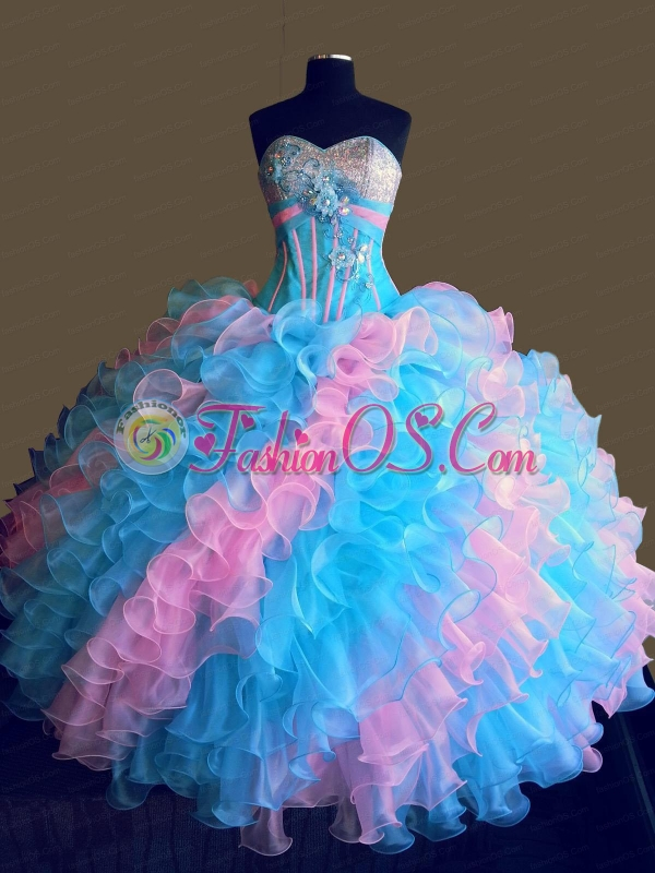 Sweetheart Ruffles Colorful Beading and Sequins Sweet 15 Dress