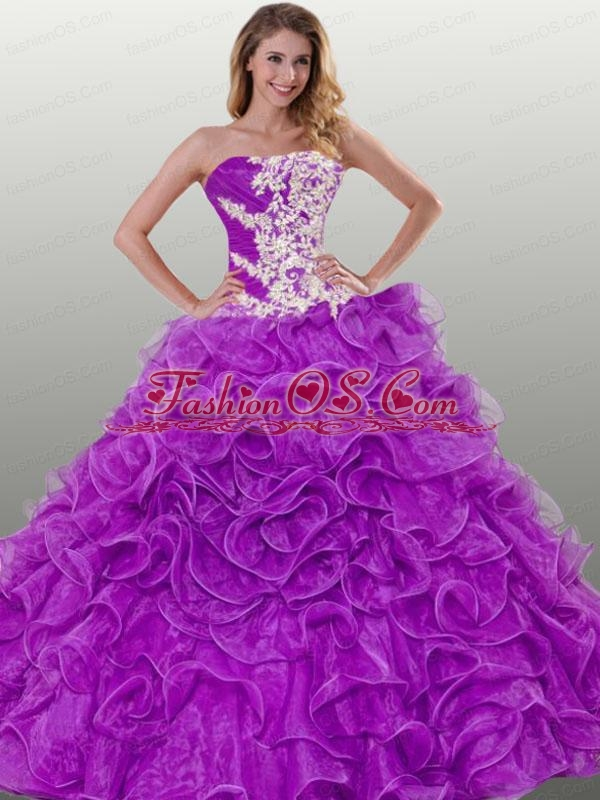 The Most Popular Ruffles and Appliques Purple Dress For Quinceanera