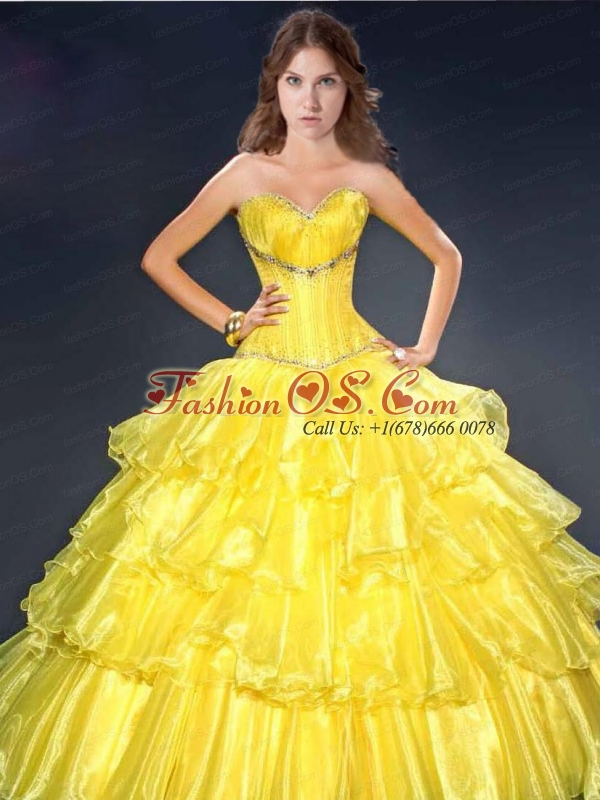 Yellow Organza Ruffled Layers Quinceanera Dress with Beading