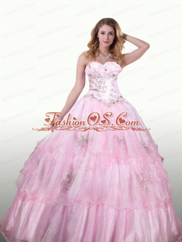 Appliques and Beading Sweetheart Quinceanera Dresses in Purple