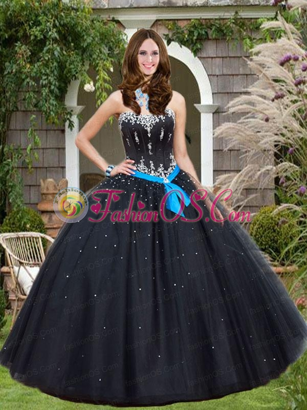 Beading and Sequins Quinceanera Dresses in Black with Bowknot