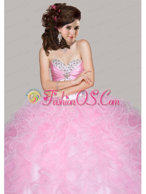 Best Sweetheart Beaded Decorate Quinceanera Dresses with Ruffles
