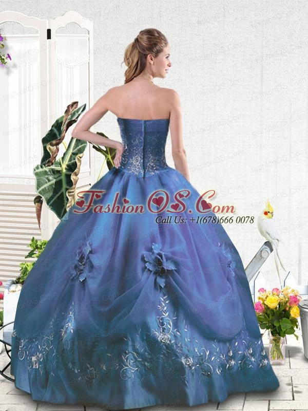 Embroidery Strapless Blue Quinceanera Gown for Girls Party