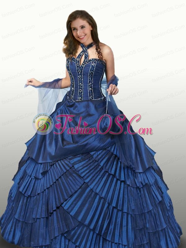 Halter Top Appliques and Ruffles Quinceanera Dresses in Royal Blue