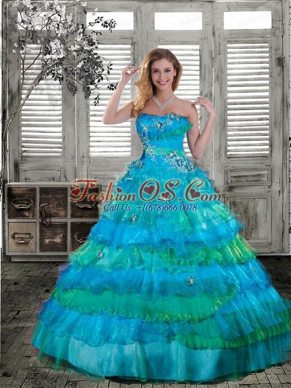 Lovely Strapless Turquoise Quinceanera Gown with Appliques