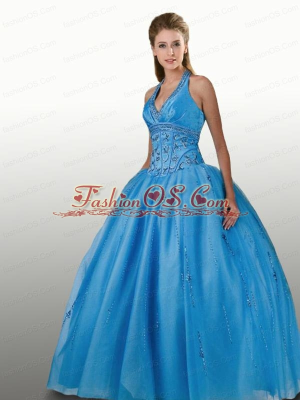 Perfect Beaded Decorate Halter Top Sweet 16 Dress in Aqua Blue