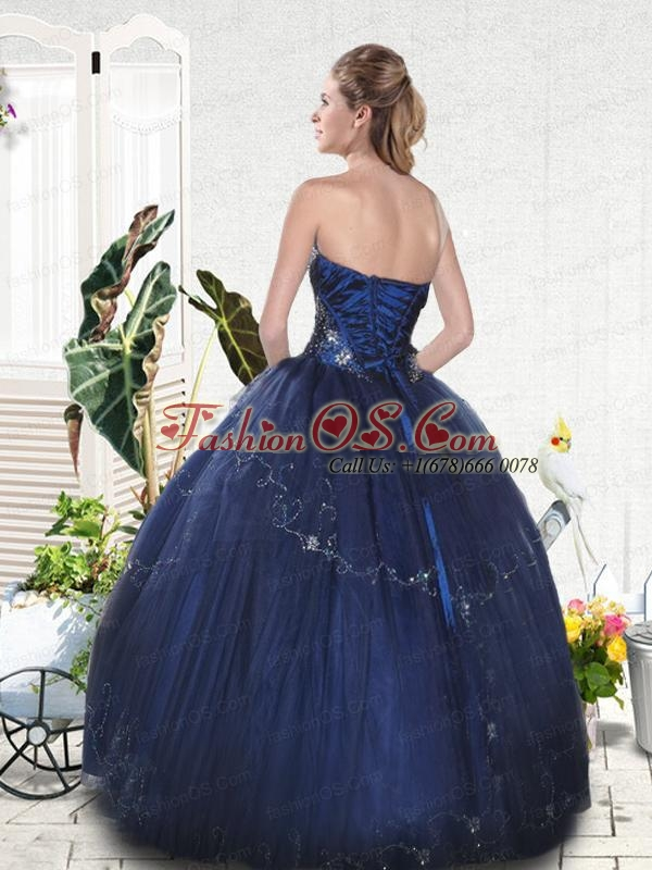 Popular Navy Blue Strapless Quinceanera Gown with Beading